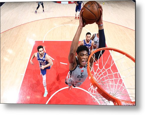 Playoffs Metal Print featuring the photograph 2021 NBA Playoffs - Philadelphia 76ers v Washington Wizards by Ned Dishman
