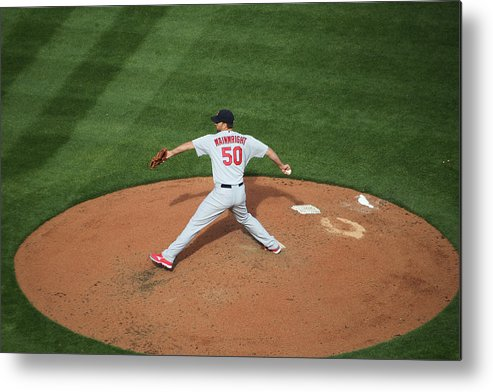 Great American Ball Park Metal Print featuring the photograph Adam Wainwright by John Grieshop