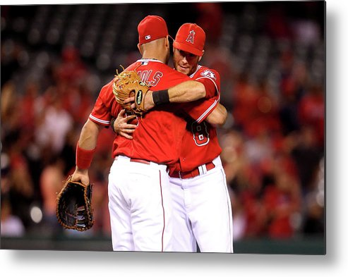 American League Baseball Metal Print featuring the photograph Albert Pujols by Stephen Dunn
