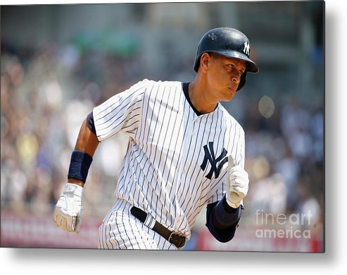 People Metal Print featuring the photograph Alex Rodriguez, Eric Hosmer, and Chris Young by Al Bello