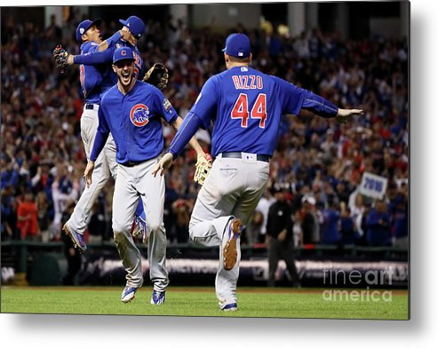 People Metal Print featuring the photograph Anthony Rizzo and Kris Bryant by Ezra Shaw