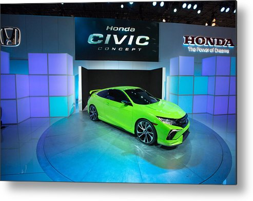 Concepts & Topics Metal Print featuring the photograph Automakers Showcase New Models At New York International Auto Show by Kevin Hagen