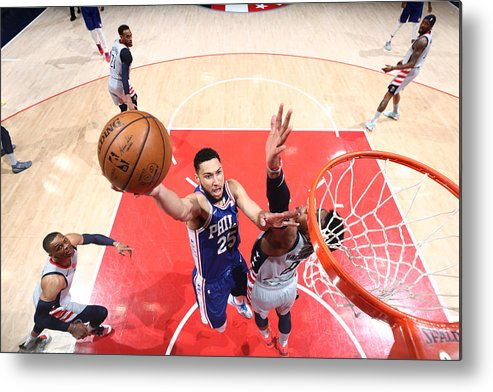 Playoffs Metal Print featuring the photograph Ben Simmons by Ned Dishman