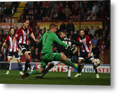 People Metal Print featuring the photograph Brentford v Bolton Wanderers - Sky Bet Championship by Bryn Lennon