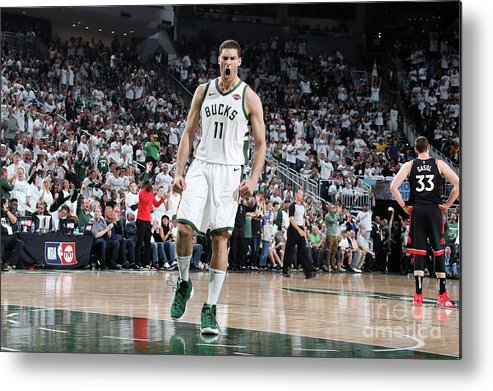 Playoffs Metal Print featuring the photograph Brook Lopez by Nathaniel S. Butler