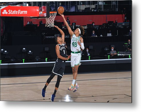 Nba Pro Basketball Metal Print featuring the photograph Brooklyn Nets v Boston Celtics by Bill Baptist