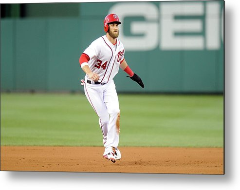 American League Baseball Metal Print featuring the photograph Bryce Harper by Greg Fiume