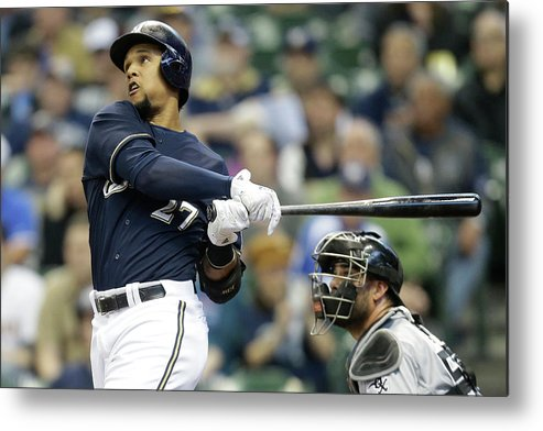 American League Baseball Metal Print featuring the photograph Carlos Gomez by Mike Mcginnis