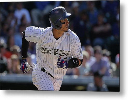 Three Quarter Length Metal Print featuring the photograph Carlos Gonzalez by Doug Pensinger