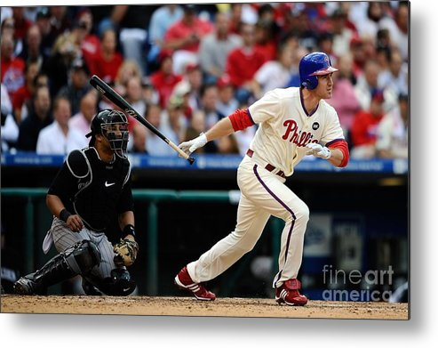 Playoffs Metal Print featuring the photograph Chase Utley by Jeff Zelevansky