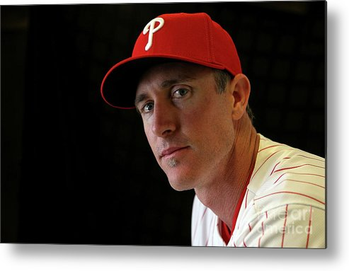 Media Day Metal Print featuring the photograph Chase Utley by Mike Ehrmann