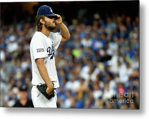People Metal Print featuring the photograph Clayton Kershaw and Jhonny Peralta by Kevork Djansezian