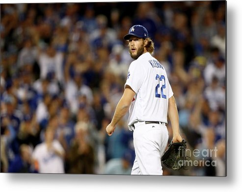 Three Quarter Length Metal Print featuring the photograph Clayton Kershaw by Ezra Shaw