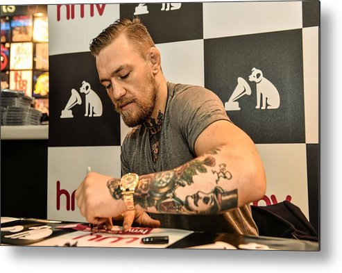 Dvd Metal Print featuring the photograph Conor McGregor DVD Signing by Sportsfile
