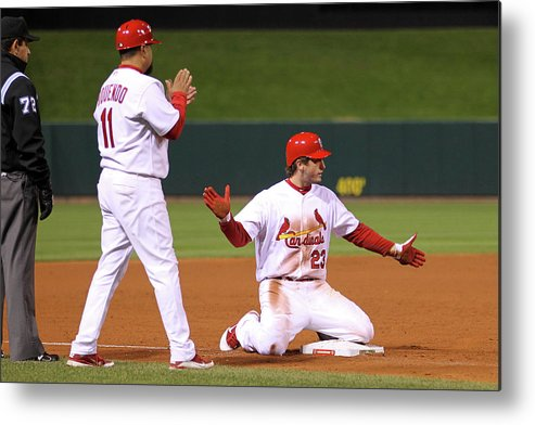 St. Louis Cardinals Metal Print featuring the photograph David Freese by Ezra Shaw