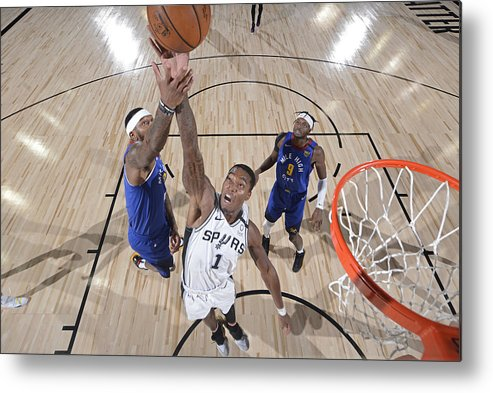 Nba Pro Basketball Metal Print featuring the photograph Denver Nuggets v San Antonio Spurs by David Dow