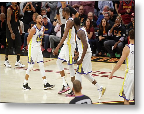 Playoffs Metal Print featuring the photograph Draymond Green, Stephen Curry, and Kevin Durant by Mark Blinch
