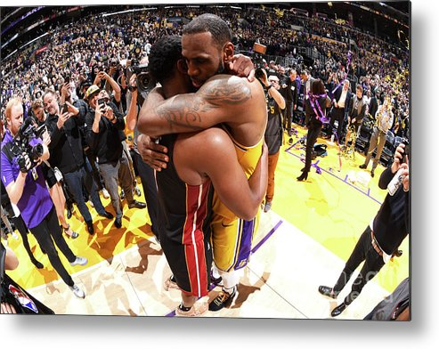 Nba Pro Basketball Metal Print featuring the photograph Dwyane Wade and Lebron James by Andrew D. Bernstein