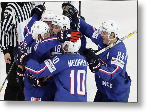 People Metal Print featuring the photograph Finland v France - 2017 IIHF Ice Hockey World Championship by Xavier Laine