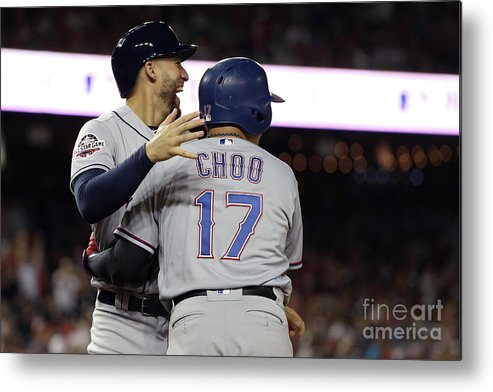 Three Quarter Length Metal Print featuring the photograph George Springer, Jean Segura, and Shin-soo Choo by Patrick Smith