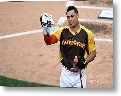 Three Quarter Length Metal Print featuring the photograph Giancarlo Stanton by Denis Poroy