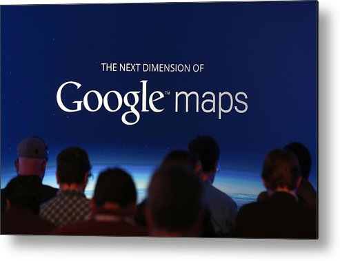 Corporate Business Metal Print featuring the photograph Google Holds News Conference by Justin Sullivan