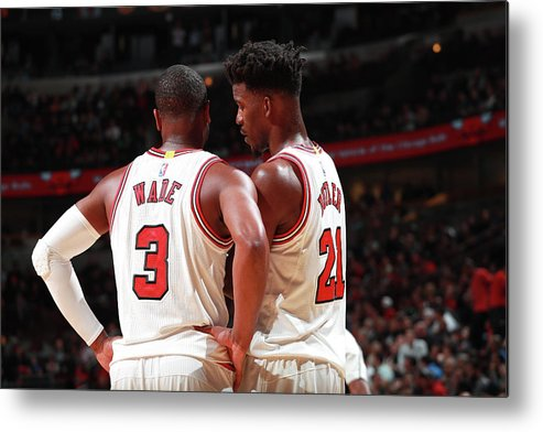 Nba Pro Basketball Metal Print featuring the photograph Jimmy Butler and Dwyane Wade by Jeff Haynes