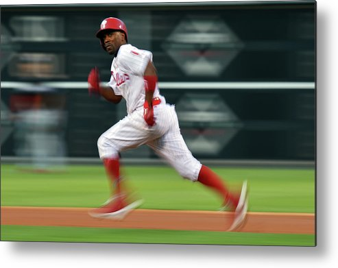 2nd Base Metal Print featuring the photograph Jimmy Rollins by Drew Hallowell