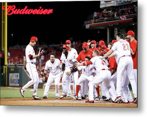 Great American Ball Park Metal Print featuring the photograph Joey Votto by Joe Robbins