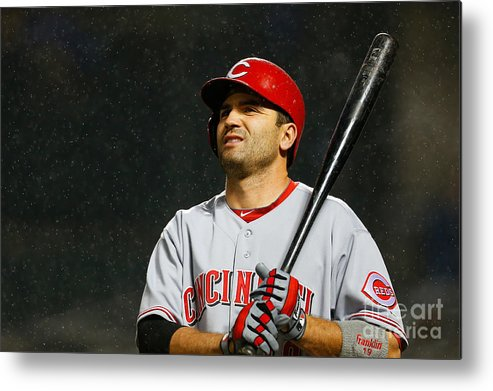 American League Baseball Metal Print featuring the photograph Joey Votto by Mike Stobe