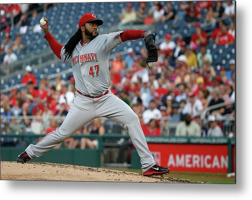 People Metal Print featuring the photograph Johnny Cueto by Rob Carr