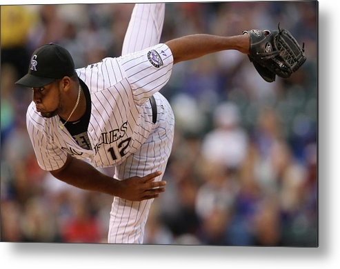American League Baseball Metal Print featuring the photograph Juan Nicasio by Doug Pensinger