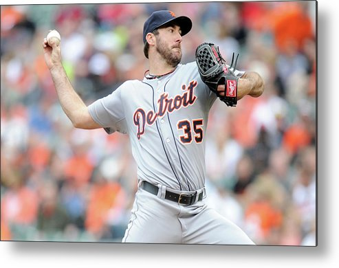 American League Baseball Metal Print featuring the photograph Justin Verlander by Greg Fiume
