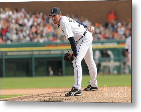 American League Baseball Metal Print featuring the photograph Justin Verlander by Mark Cunningham