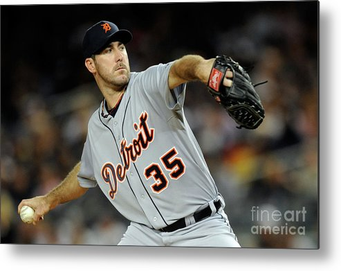 American League Baseball Metal Print featuring the photograph Justin Verlander by Patrick Mcdermott