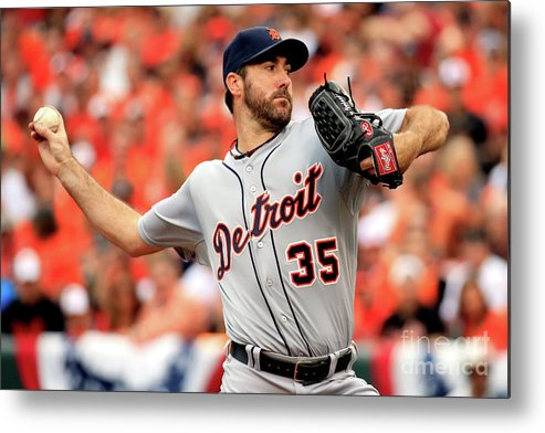 Game Two Metal Print featuring the photograph Justin Verlander by Rob Carr