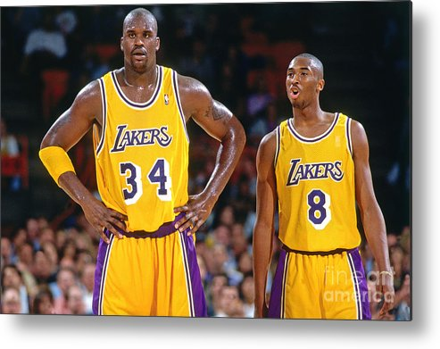 Nba Pro Basketball Metal Print featuring the photograph Kobe Bryant and Shaquille O'neal by Andrew D. Bernstein