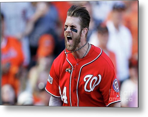 San Francisco Metal Print featuring the photograph Madison Bumgarner and Bryce Harper by Ezra Shaw