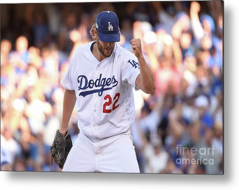 Three Quarter Length Metal Print featuring the photograph Manny Machado and Clayton Kershaw by Kevork Djansezian