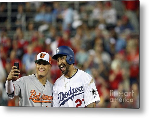 Second Inning Metal Print featuring the photograph Manny Machado and Matt Kemp by Patrick Smith