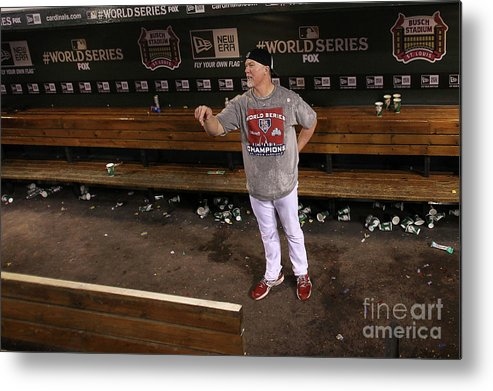 St. Louis Cardinals Metal Print featuring the photograph Mark Mcgwire by Ezra Shaw