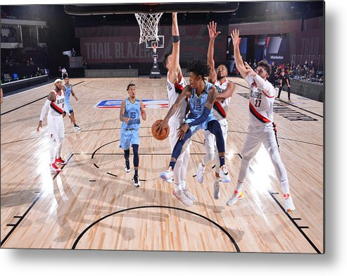 Nba Pro Basketball Metal Print featuring the photograph Memphis Grizzlies v Portland Trail Blazers by Jesse D. Garrabrant