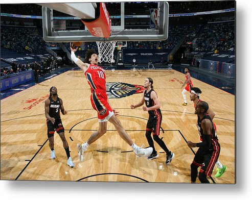 Smoothie King Center Metal Print featuring the photograph Miami Heat v New Orleans Pelicans by Layne Murdoch Jr.