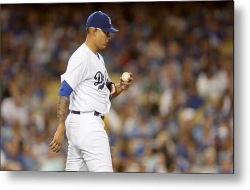 American League Baseball Metal Print featuring the photograph Miami Marlins v Los Angeles Dodgers by Stephen Dunn