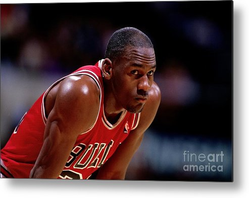 Chicago Bulls Metal Print featuring the photograph Michael Jordan by Nba Photos