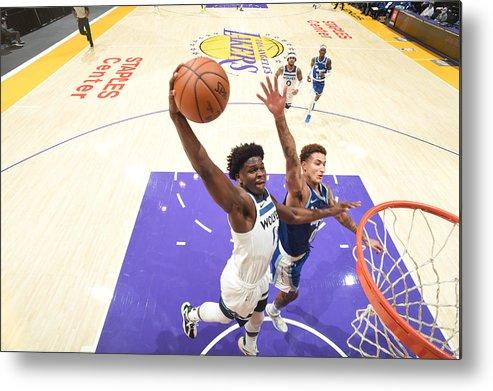 Nba Pro Basketball Metal Print featuring the photograph Minnesota Timberwolves v LA Lakers by Adam Pantozzi