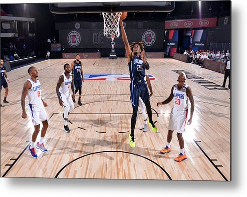 Nba Pro Basketball Metal Print featuring the photograph Orlando Magic v Los Angeles Clippers by Jesse D. Garrabrant