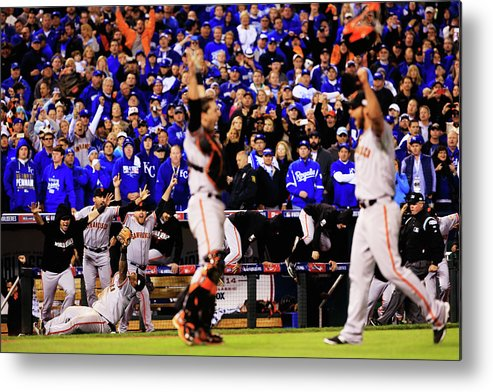 People Metal Print featuring the photograph Pablo Sandoval, Madison Bumgarner, and Buster Posey by Jamie Squire