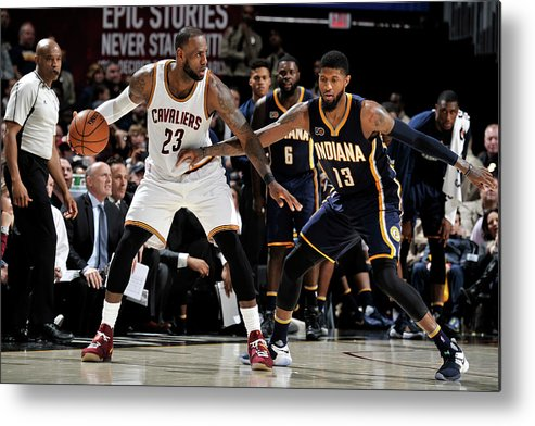 Nba Pro Basketball Metal Print featuring the photograph Paul George and Lebron James by David Liam Kyle