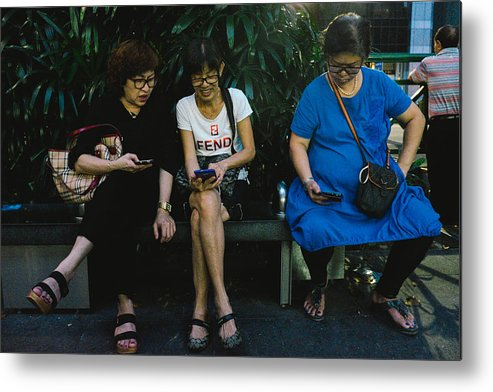 Telephone Metal Print featuring the photograph People Using Cellphones by Neo Chee Wei